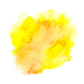 Vector yellow watercolor splash background. Abstract hand paint watercolor textured blot isolated on white background