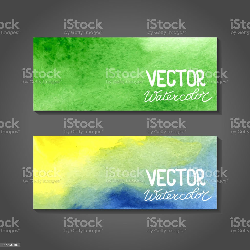 Vector watercolor banners. Abstract background with watercolors vector art illustration