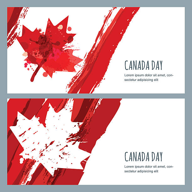 vector watercolor banners and backgrounds. 1st of july canada day. - canada day stock illustrations