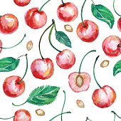 Isolated hand painted watercolor drawing of red cherries with leaves. Seamless Background