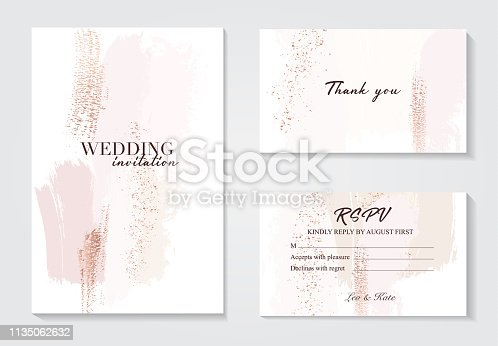 istock Vector watercolor brush strokes creative template. Moedrn wedding cards with marble texture and gold. Abstract design for cover, banner, invitation, card Branding and identity Vector illustration. 1135062632