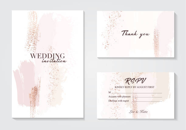 illustrazioni stock, clip art, cartoni animati e icone di tendenza di vector watercolor brush strokes creative template. moedrn wedding cards with marble texture and gold. abstract design for cover, banner, invitation, card branding and identity vector illustration. - sfondo matrimoni