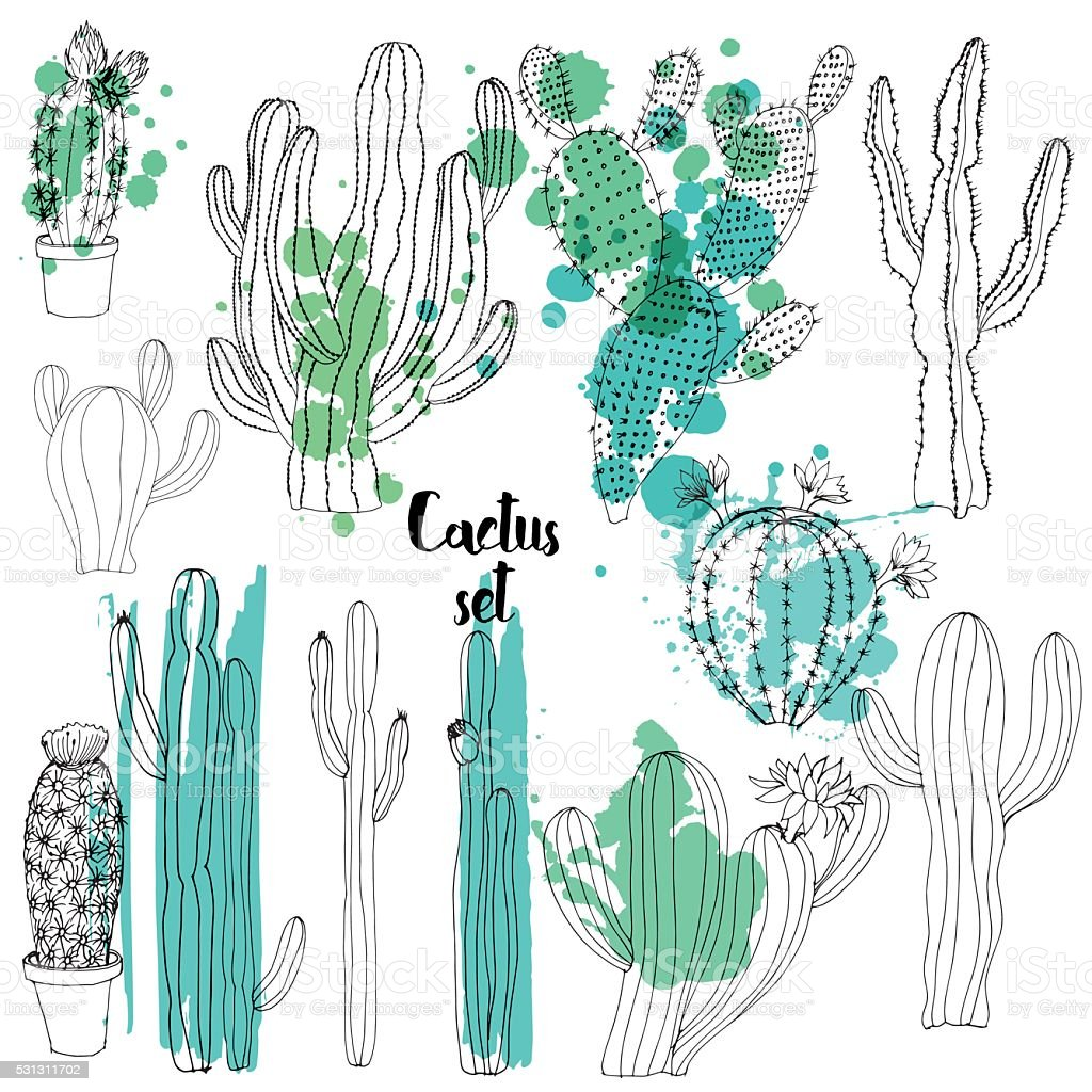 Vector watercolor cactus background vector art illustration