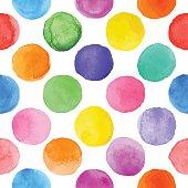 Vector watercolor circles seamless pattern .