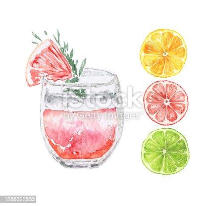 istock Vector Watercolor Citrus Drink with slices 1288322533