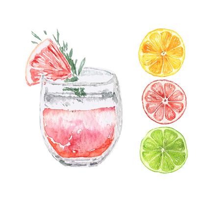 Vector Watercolor Citrus Drink with slices