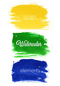 Vector watercolor design elements - Brazil style.