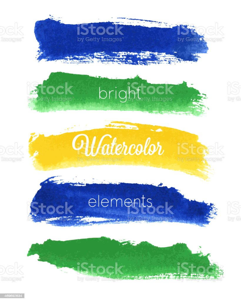 Vector watercolor design elements - Brazil style vector art illustration
