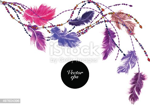 Vector decorative background. Watercolor feathers with beads in romantic colors. Corner ornament for card and invitation.