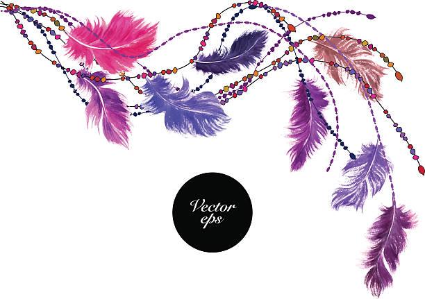 vector watercolor feather corner decoration - bohemian fashion stock illustrations, clip art, cartoons, & icons