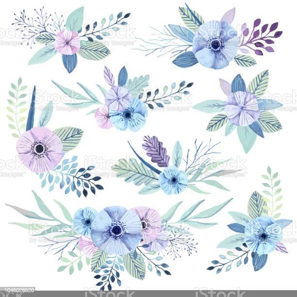 Vector watercolor flowers vector id1046026520?b=1&k=6&m=1046026520&s=612x612&h=y4v2y6zpnsufwtakfz xbetnp6e1fmiwgbtr0ghtaho=