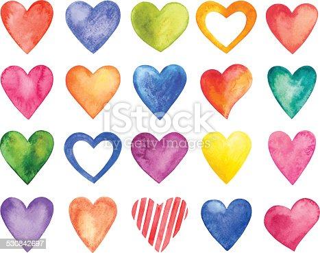 istock Vector watercolor hearts, Valentine Day 530842697