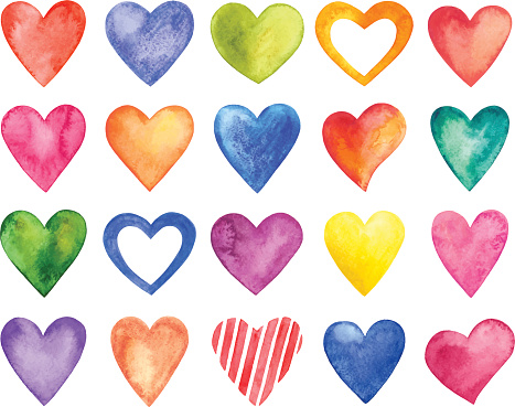 Vector watercolor hearts, Valentine Day