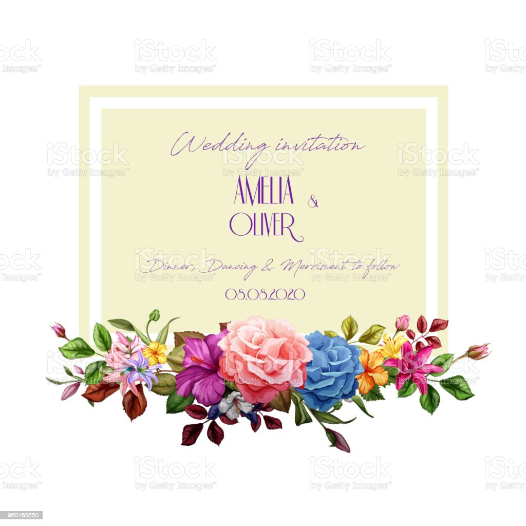 Vector Watercolor Lily Rose Flower Wedding Card Stock Vector Art