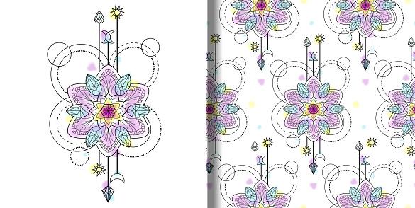 Vector watercolor Mandala print and seamless pattern