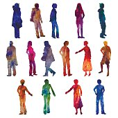 vector watercolor people silhouettes