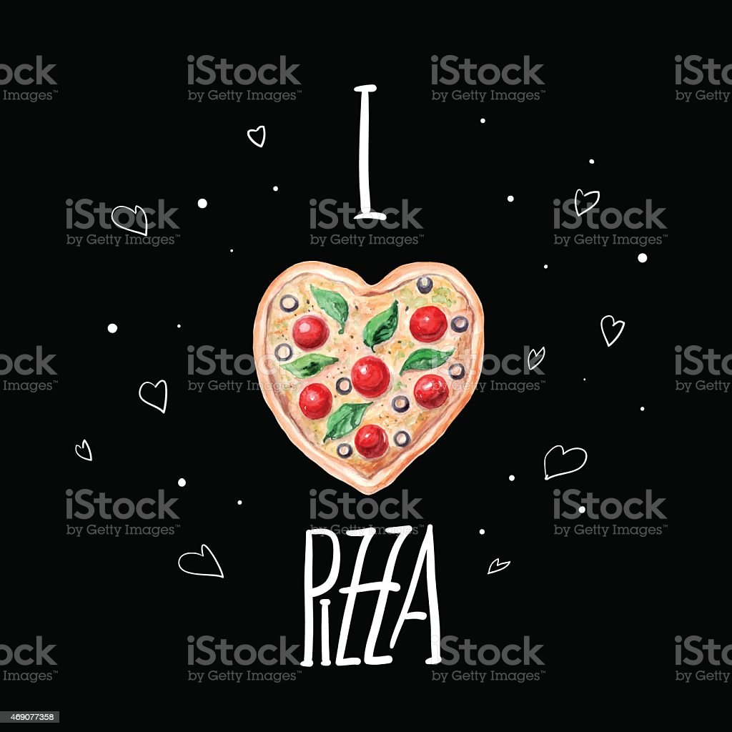 vector watercolor pizza heart. vector art illustration