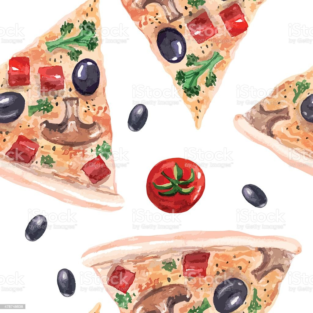 vector watercolor pizza seamless pattern. vector art illustration