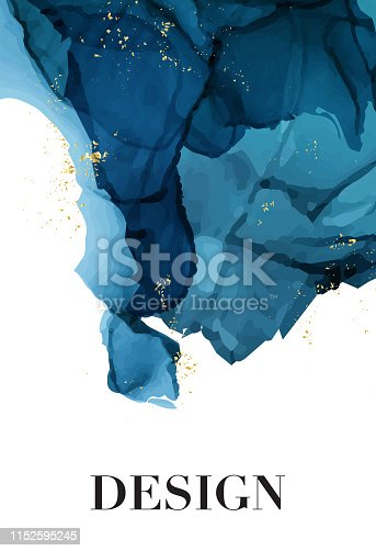 Vector watercolor repetition liquid flow in navy blue colors with gold glitters. Vector contrast alcohol ink grunge abstract background. Wedding decoration design