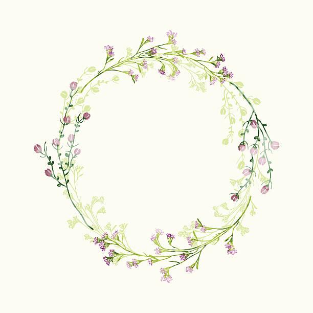 vector watercolor round floral frame. hand draw herbal border - ウェディングファッション点のイラスト素材/クリップアート素材/マンガ素材/アイコン素材
