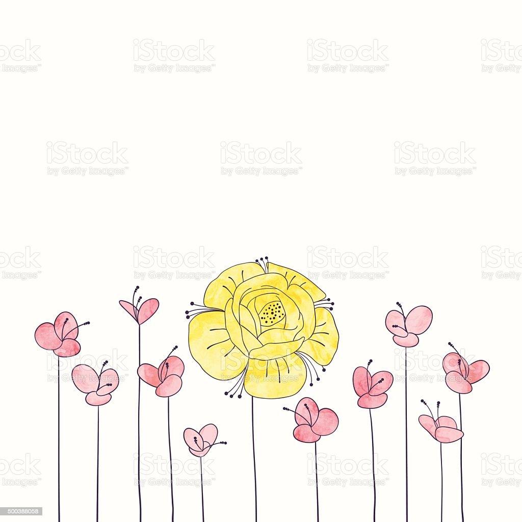 Vektoraquarell Runde Blume Rahmen Hand Zeichnen Mit Blumenmuster ...