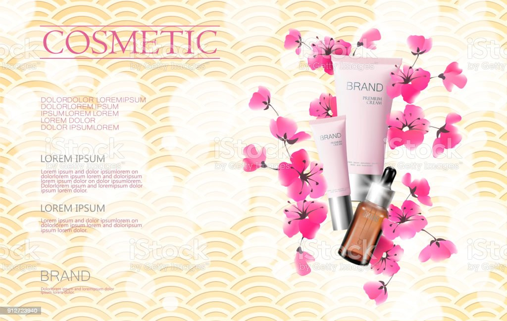 Vektor Aquarell Sakura Blüte Frühling Verkauf Kosmetik Banner ...