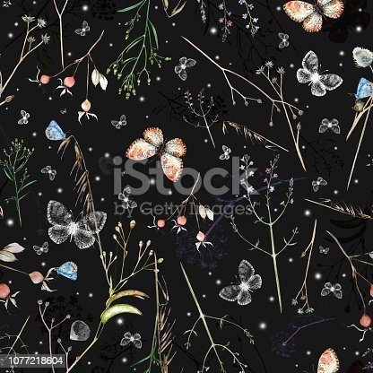Vector watercolor seamless pattern with wildflowers, rosehip berries,  blue and white butterflies, snow flakes  on dark  background.