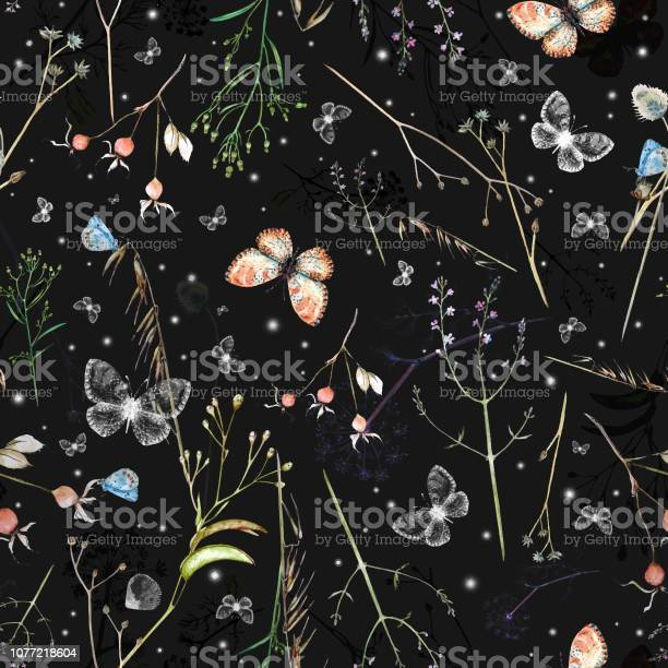 Vector watercolor seamless pattern with wildflowers rosehip berries vector id1077218604?b=1&k=6&m=1077218604&s=612x612&h=9o37h cqx8zszg53p 4m9 need i1l4 oayhia6owam=