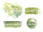 Vector Watercolor Set Green Watercolor Spots