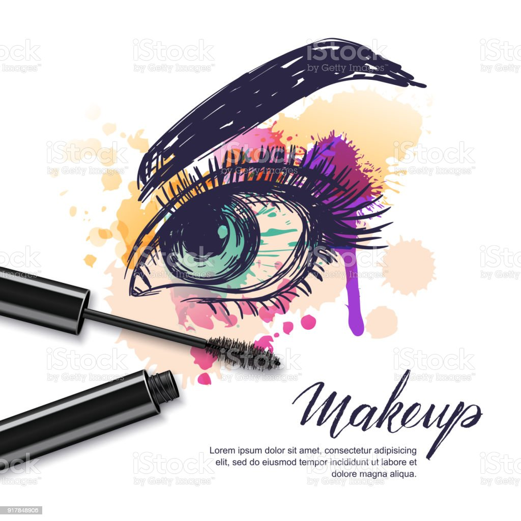 Vector Watercolor Sketch Illustration Of Colorful Female Eye And