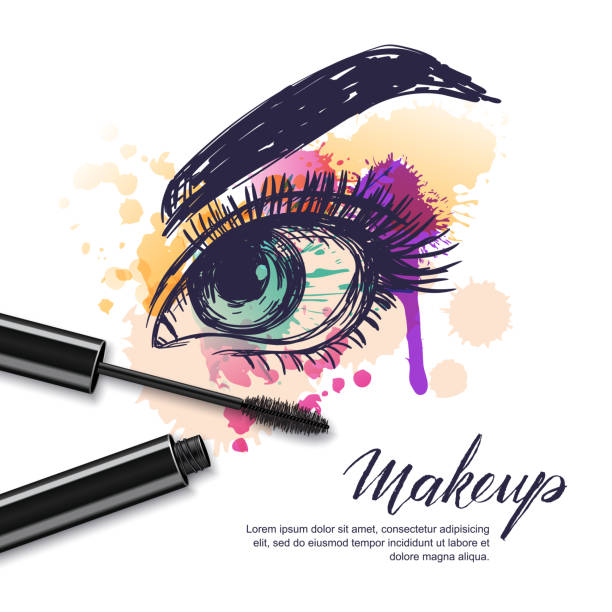 Vector watercolor sketch illustration of colorful female eye and makeup mascara. Watercolor background. vector art illustration