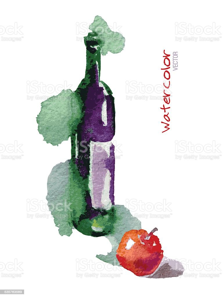 vector watercolor sketch wine bottle red apple royalty free stock vector art - Free Sketches To Paint