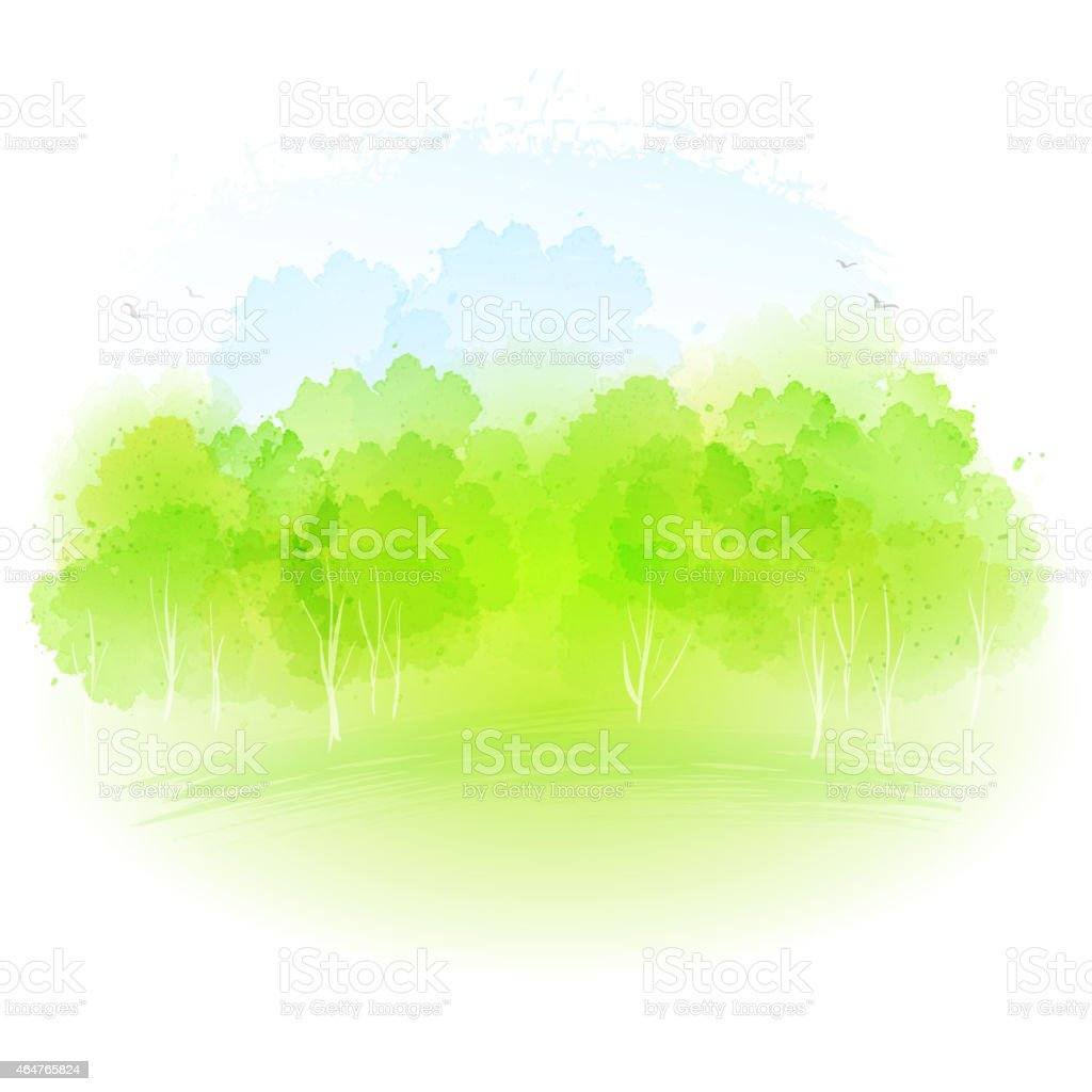 Vector watercolor spring landscape vector art illustration