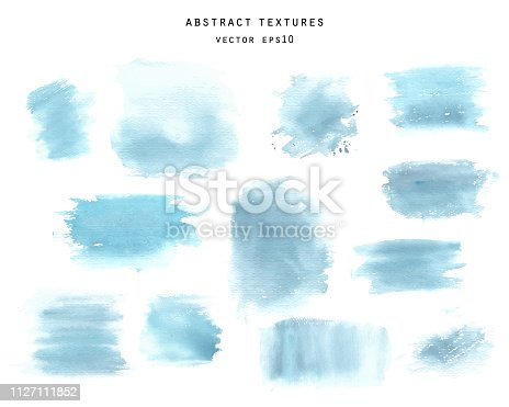 Vector watercolor stain set. Various shapes, brush strokes, stripes, rectangles in blue sky color isolated on white.