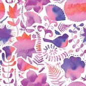 Vector watercolor texture with flowers