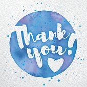 Vector Watercolor Thank You Script on vector white watercolor paper.
