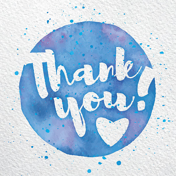 vector watercolor thank you script - vielen dank stock-grafiken, -clipart, -cartoons und -symbole