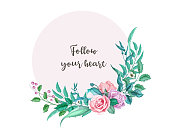 vector realistic rose flower decorated vintage luxurious marriage circle card template with elegant watercolor floral pattern. Isolated background illustration. Wedding marriage invitation card design