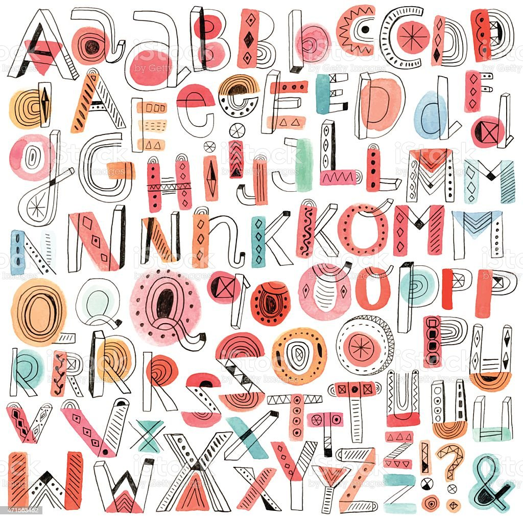 Vector watercolour and pencil doodle alphabet royalty-free vector watercolour and pencil doodle alphabet stock vector art & more images of 2015