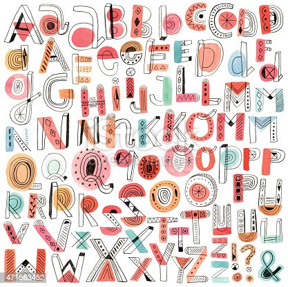 istock Vector watercolour and pencil doodle alphabet 471563452