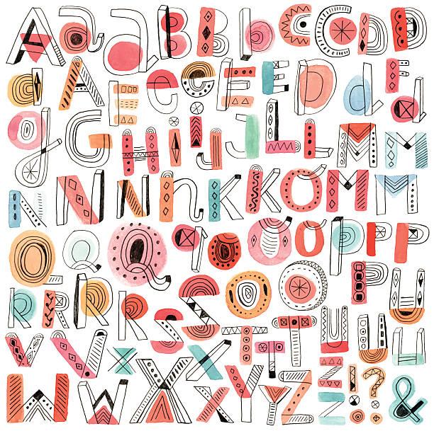 ベクトル watercolour とペンシル落書きアルファベット - 落書きのフォント点のイラスト素材/クリップアート素材/マンガ素材/アイコン素材