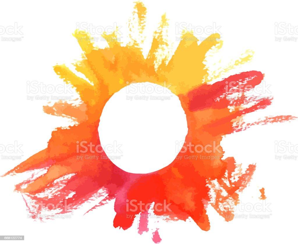 Quadro de textura vector watercoor em cores de outono - ilustração de arte em vetor
