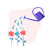 vector watering can water flowers in garden. Illustration concept about flower care for children book, web design.