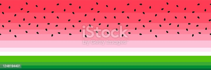 Vector watermelon slice background with black seed border seamless pattern design