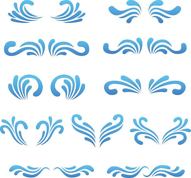 stockillustraties, clipart, cartoons en iconen met vector wave curly shapes icons set. - bloemen storm