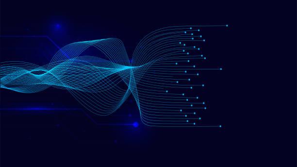 ilustrações, clipart, desenhos animados e ícones de linhas da onda do vetor que flui dinâmico no fundo azul para o conceito da tecnologia do ai, digital, - escorrer