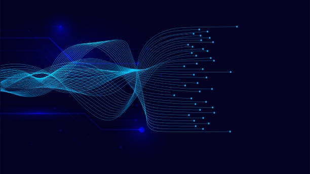 vector wave lines flowing dynamic on blue background for concept of ai technology, digital, - данные stock illustrations