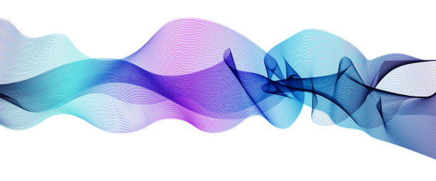 vector wave pattern blue, purple, turquoise. waving ribbon flowing, white background. line art wiggly design element, modern horizontal waveform. abstract vibrant shiny waves. eps10 illustration - squiggle line stock illustrations