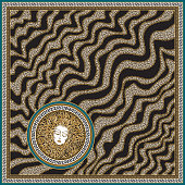 Vector wave striped shawl print with gold chains, black and beige leopard spots, Greek meander border pattern, Medusa Gorgon head Baroque silk bandana. 6 pattern brushes in the palette