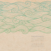 Vector waves ornate background with copy space on old parchment or cardboard paper
